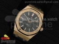 Royal Oak 41mm 15400 Lite RG Black Dial on Brown Leather Strap A3120