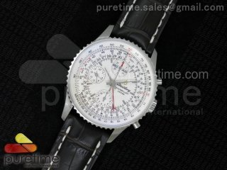 Datora Montbrillant Chrono SS JF 1:1 Best Edition White Dial on Brown Leather Strap A7751