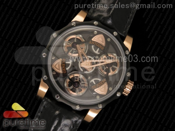 Tourbillon of Tourbillons PVD/RG Skeleton Dial on Black Leather Strap Miyota Movement