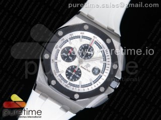 Royal Oak Offshore 44mm SS Updated Black Ceramic Bezel JF 1:1 Best Edition on White Rubber Strap A3126
