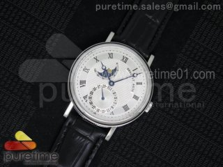 Classique SS Moonphase White Textured Dial on Black Leather Strap MIYOTA9015