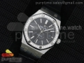Royal Oak 41mm 15400 Lite Diamonds Bezel Black Dial on Black Leather Strap A3120