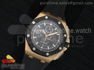 Royal Oak Offshore 44mm RG Lite Black/Black Dial on Black Rubber Strap A7750