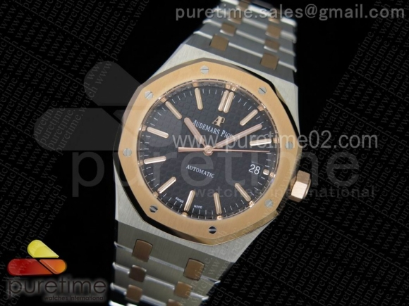 Royal Oak 37mm 15450 RG Bezel JF 1:1 Best Edition Black Dial on SS/RG Bracelet A3120