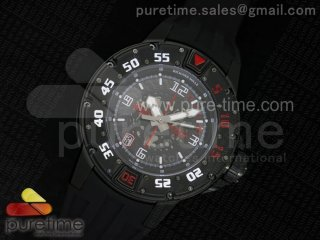 RM028 47mm RMF PVD Red Skeleton Dial on Black Rubber Strap A7750