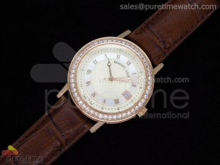 Classique Automatic RG Cream Dial Diamond Bezel on Leather Strap A2824
