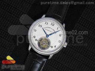 1815 Tourbillon Handwerkskunst SS White Dial on Black Leather Strap