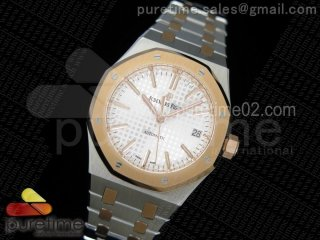 Royal Oak 37mm 15450 RG Bezel JF 1:1 Best Edition Silver Dial on SS/RG Bracelet A3120