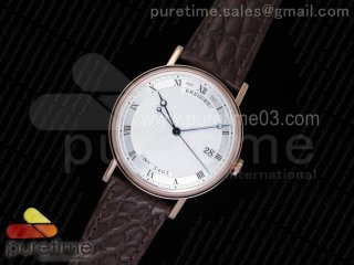 Classique Auto 5177 RG MK 1:1 Best Edition White Hobnail Textured Dial on Brown Leather Strap MIYOTA 9015