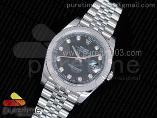DateJust 41 126334 1:1 Best Edition Fluted Bezel Black Dial Diamonds Markers on SS Jubilee Bracelet A3235 (Same Serials Card)