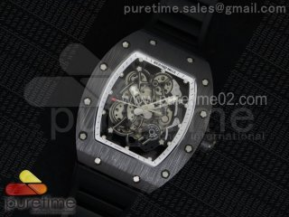 RM055 Black Ceramic White Inner Bezel Skeleton Dial on Black Rubber Strap MIYOTA8215