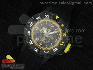 RM028 47mm RMF PVD Yellow Black Skeleton Dial on Black Rubber Strap A7750