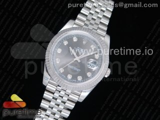 DateJust 41 126334 Noob 1:1 Best Edition Fluted Bezel Gray Dial Diamonds Markers on SS Jubilee Bracelet A3235