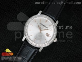 Jules Audemars SS White Dial Style 1 Diamonds Bezel on Black Leather Strap MIYOTA9015