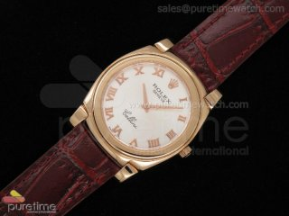 Cellini RG White Dial Roman Marker Brown Leather Strap Swiss Quartz