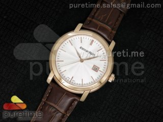 Jules Audemars Automatic RG White Dial Style 2 on Brown Leather Strap MIYOTA9015