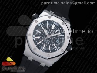 Royal Oak Offshore Diver 15710 JF 1:1 Best Edition Black Dial on Black Rubber Strap A3120 V9 (Free XS Strap)