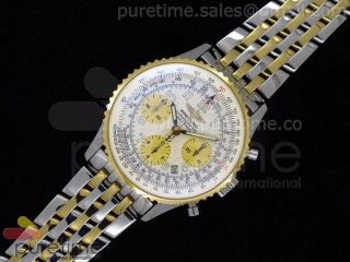 Navitimer Cosmonaute SS White Dial with Yellow Sub-Dials on YG/SS Bracelet A7750