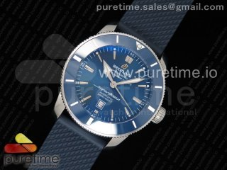SuperOcean Heritage ii 46mm SS Blue Dial Blue Ceramic Bezel on Blue Rubber Strap A2824