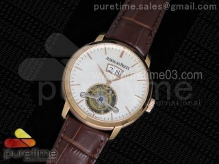 Jules Tourbillon RG Big Date White Dial on Brown Leather Strap