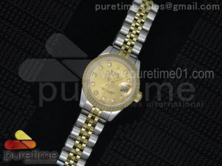 Ladies DateJust SS Yellow Gold Dial Diamonds Markers on SS/RG Jubilee Bracelet ETA2671