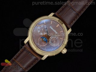 Jules Audemars Moonphase Calender RG Brown Dial on Brown Leather Strap A23J