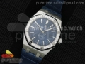 Royal Oak 41mm 15400 Lite Diamonds Bezel Blue Dial on Blue Leather Strap A3120