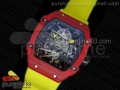 RM027-2 Red Forge Carbon Case Skeleton Dial on Yellow Nylon Strap 6T51