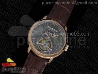 Jules Tourbillon RG Big Date Gray Dial on Brown Leather Strap