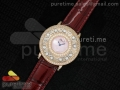 Happy Sport Diamonds RG Pink MOP Dial on Deep Red Leather Strap Swiss Quartz