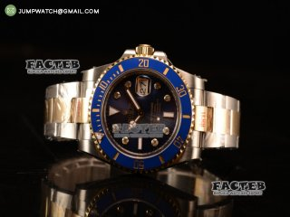 Top Quality Rolex Submariner Two Tone Case Blue Dial Diamond Markers Two Tone Bracelet