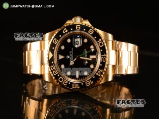GMT-Master II Swiss ETA 2836 Automatic Yellow Gold Case With Ceramic Bezel Black Dial 116718 BK