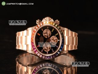 Rolex Daytona Rainbow 316L Steel Case With Clone Rolex 4130 1:1 Clone 116509 EF
