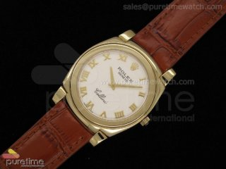 Cellini YG White MOP Dial Roman Markers Brown Leather Strap Swiss Quartz