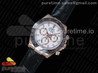 Daytona 116515 Noob 1:1 Best Edition White Dial on Black Leather Strap SA4130