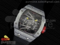 RM027-2 White Carbon Fiber Case Skeleton Dial on Black Nylon Strap 6T51