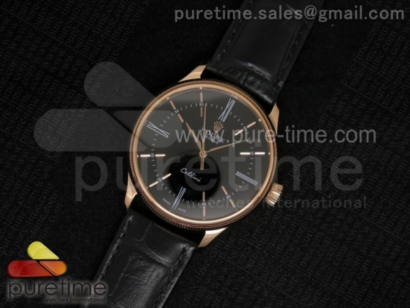 Cellini 50505 RG Black Dial on Black Leather Strap A2824