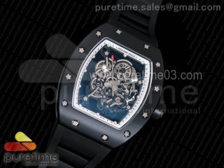 RM055 Real Ceramic Case KVF Best Edition Skeleton Dial White Inner Bezel on Black Rubber Strap MIYOTA8215