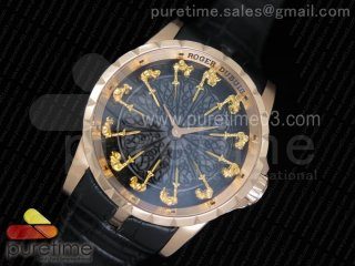 Excalibur Knights of the Round Table II RG Black Dial on Black Leather Strap MIYOTA 6T15