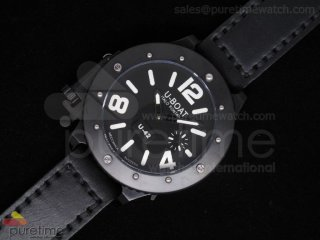 U42 PVD Black Dial White Mark on Black Leather Strap 52mm A6497