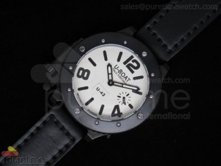 U42 PVD White Dial Black Mark on Black Leather Strap 52mm A6497