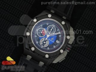 Royal Oak Offshore Grand Prix PVD Lite Black/Blue Dial on Black Leather Strap Jap Quartz