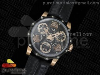 Tourbillon of Tourbillons PVD/RG Skeleton Dial on Black Leather Strap A23J