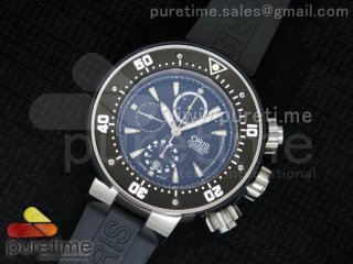 ProDiver 51mm Chrono SS Black Dial on Black Rubber Strap A7750