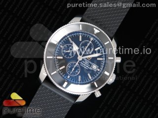 SuperOcean Heritage ii 46mm Chronograph SS Black Dial Black Ceramic Bezel on Black Rubber Strap A7750