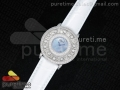 Happy Sport Diamonds SS Blue MOP Dial on White Leather Strap Swiss Quartz