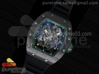 RM055 Black Ceramic Green Inner Bezel Skeleton Dial on Black Rubber Strap MIYOTA8215