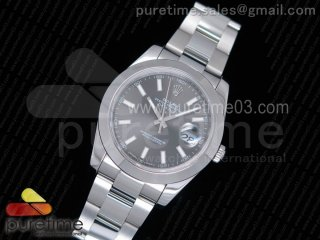 DateJust 41 126300 Noob 1:1 Best Edition Polished Bezel Gray Dial Stick Markers on SS Oyster Bracelet A3235