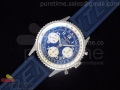Navitimer Cosmonaute SS Blue Dial with White Sub-Dials on Blue Rubber Strap A7750