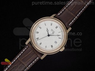 Classique Auto 526 RG White Dial on Brown Leather Strap A2824